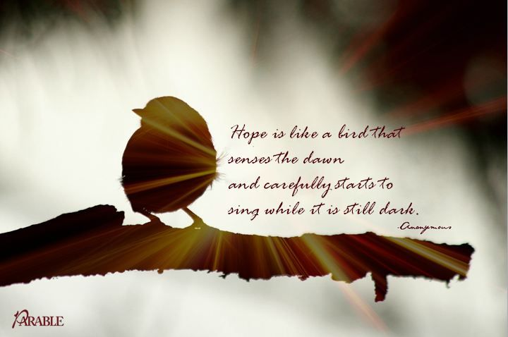 """Hope is like a bird that senses the dawn and carefully starts to sing while it is still dark."" -Anonymous"