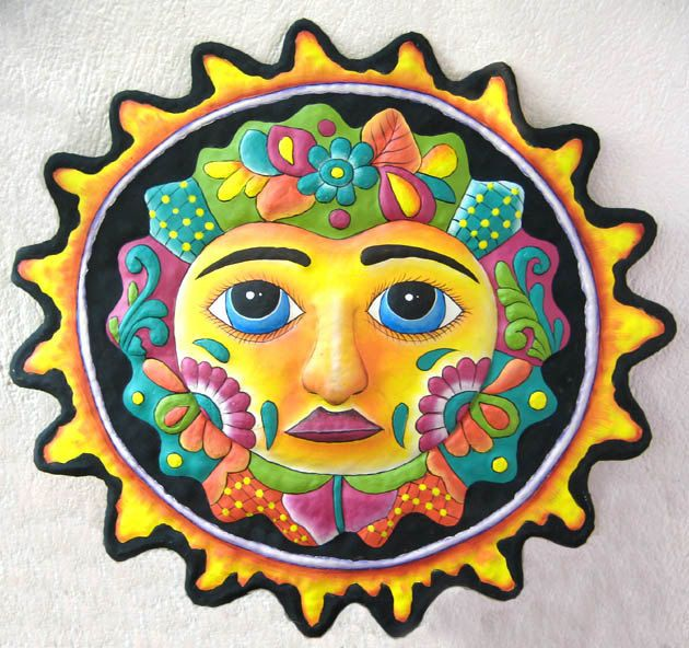 Metal Sun, Hand Painted Metal Art 24\