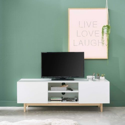 Meuble TV vintage blanc | Vintage tv, Tv units and Living rooms