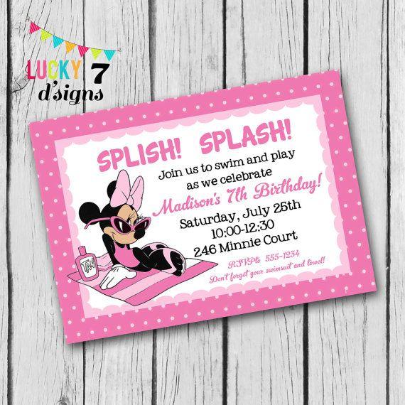 Minnie Mouse Birthday Invitation SWIMMING POOL by Lucky7dsigns - birthday invitation swimming party