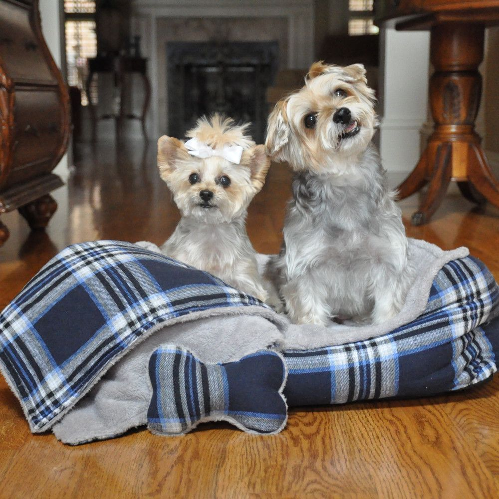 Ultra Soft Blue Plaid Dog Bed with Bone/Blanket