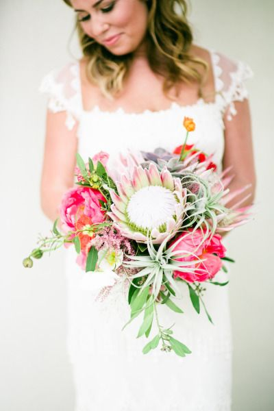 Protea bouquet: http://www.stylemepretty.com/california-weddings/palm-springs/2015/04/03/whimsical-desert-wedding-in-palm-springs/ | Photography: Mi Belle - http://mibelleinc.com/