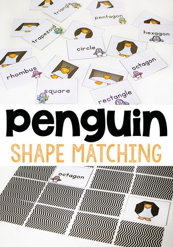 This free printable penguin shape matching game is a great way to learn about 2-dimensional shapes! These silly penguins are all shaped like polygons and the kids love playing with them!