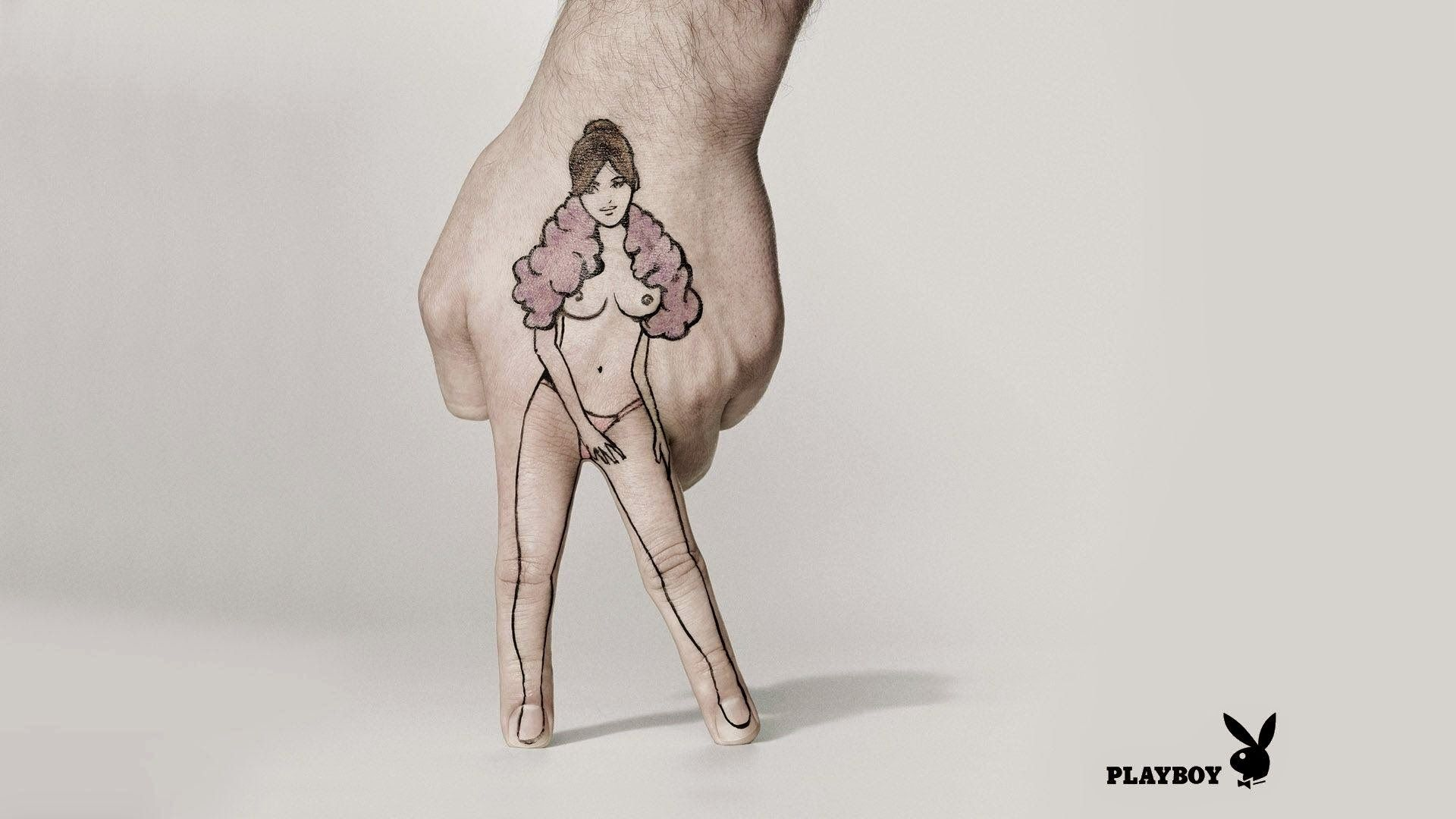 hand girl advertising Creative style playboy logo 1080x1920