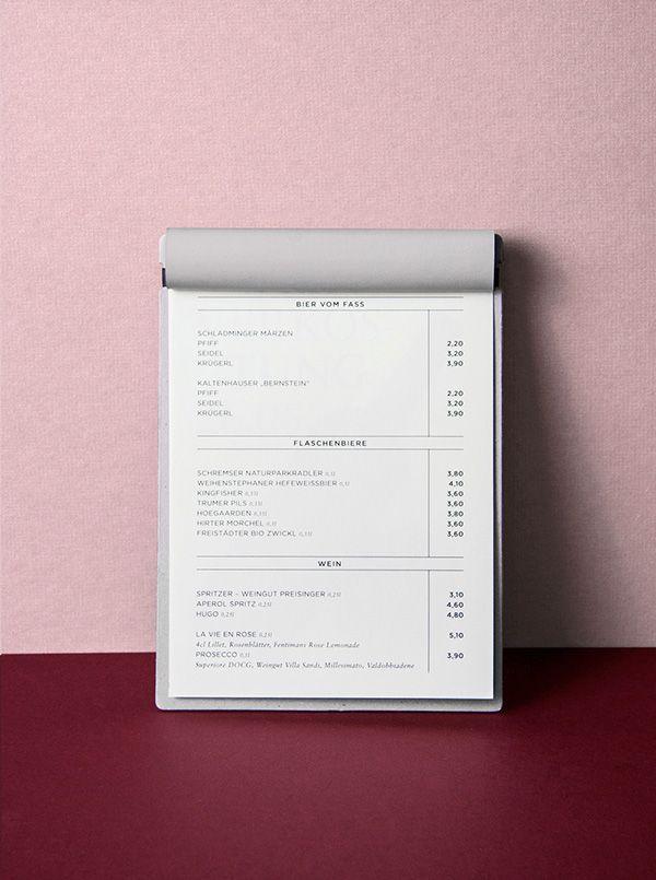 DAS KOLIN on Behance  Menu  pink  | Coffee shop ideas | Menu