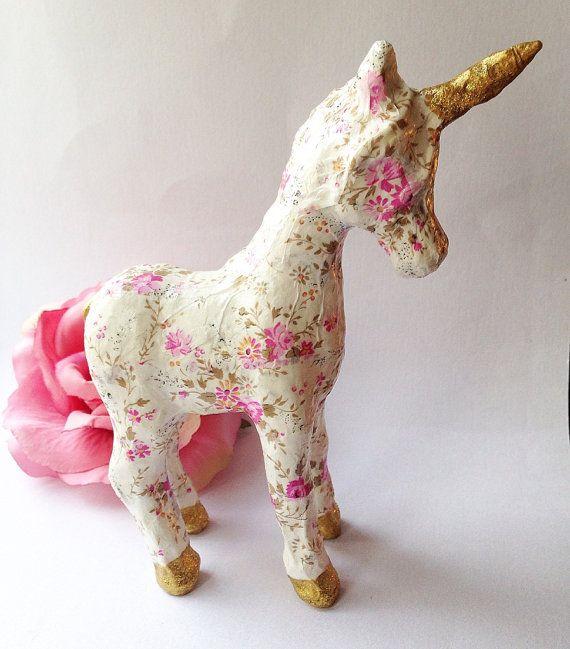Paper mache unicorn. Unicorn party. decoupage ideas. DIY
