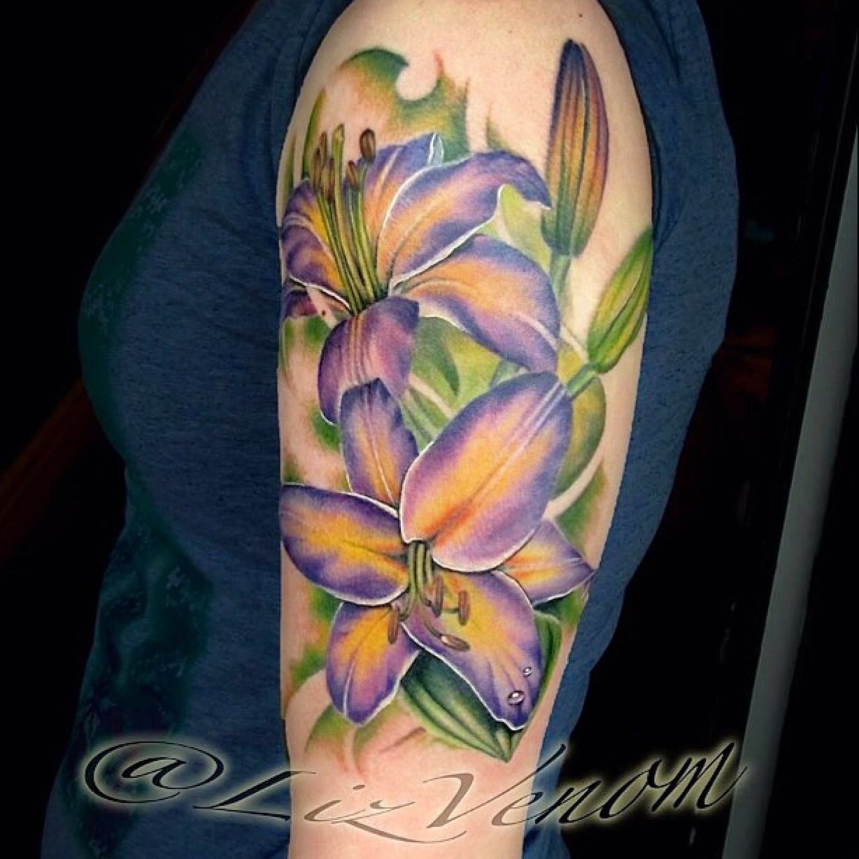 Beautiful realistic colour tattoo of lilies by lyz venom from