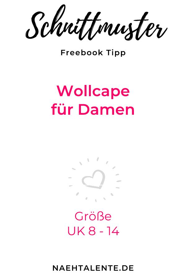 Wollcape für kalte Wintertage - gratis Schnittmuster Gr. UK 8 - 14 ...