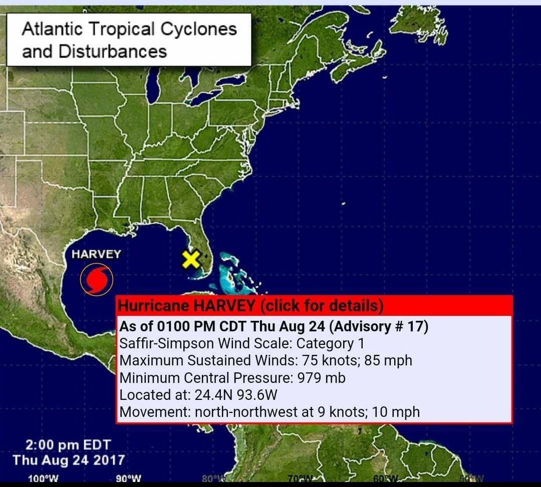 NOAA Advisory 17 On Harvey As It Was Upgraded From A Tropical Storm To Category 1 Hurricane Thursday August 24 2017