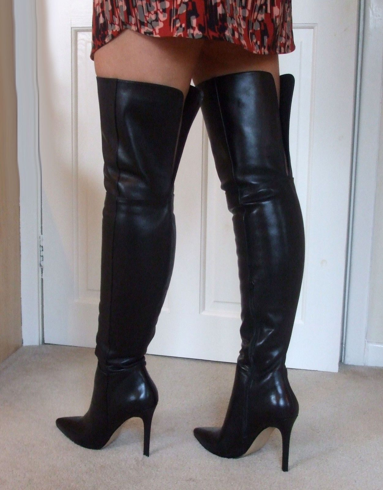 8aab72a372f Glossy Butter Soft Leather High Heel Overknee Over Knee Thigh Boots ...