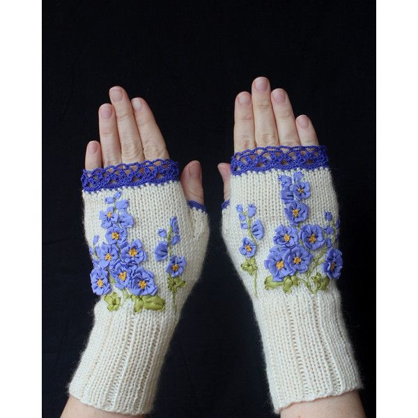 Hand Knitted Fingerless Gloves, Flower,Clothing And Accessories,... ($66) ❤ liked on Polyvore featuring accessories, gloves, blue fingerless gloves, hand knit mittens, fingerless mitten gloves, white winter gloves and mitten gloves