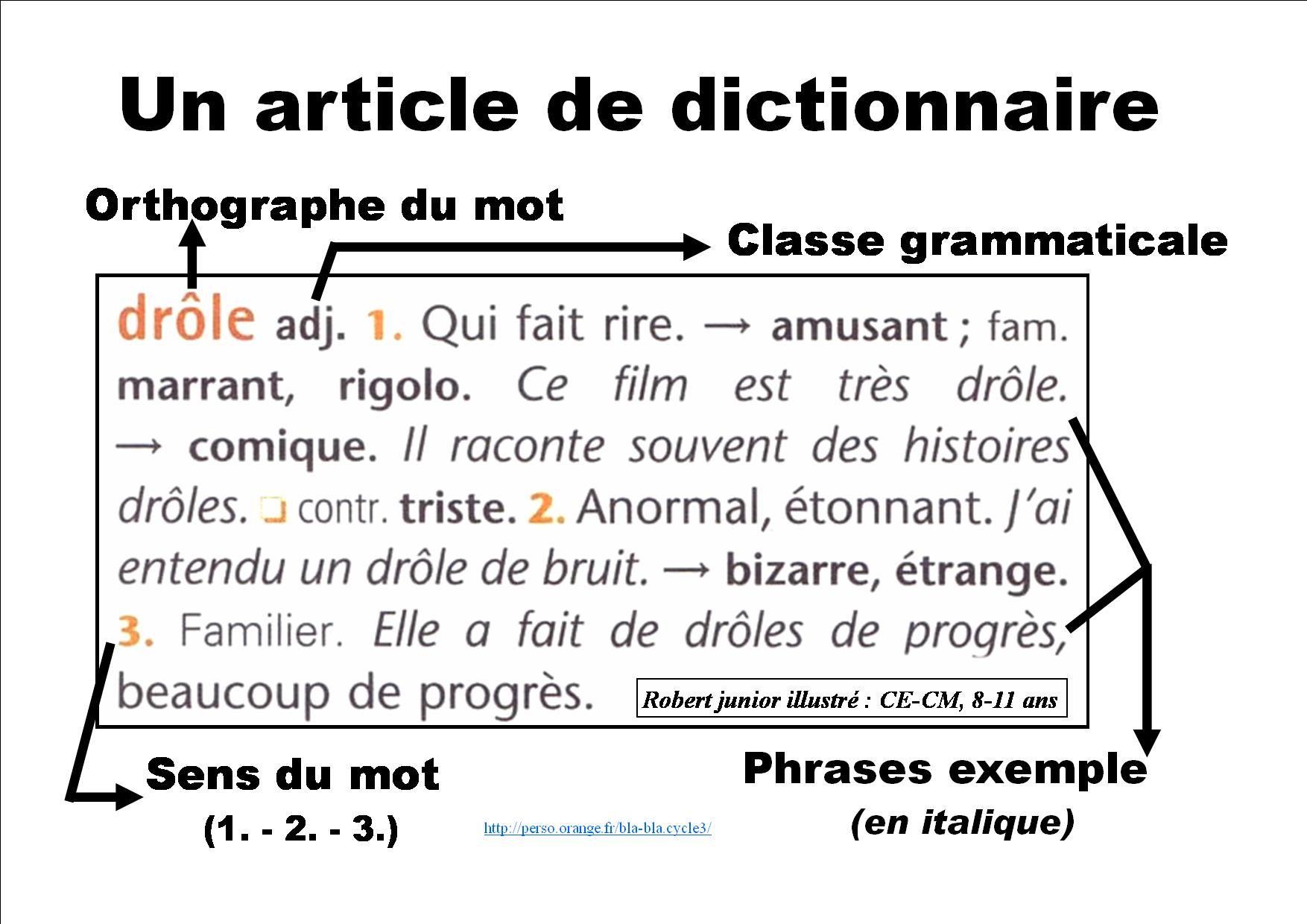 Un Article De Dictionnaire