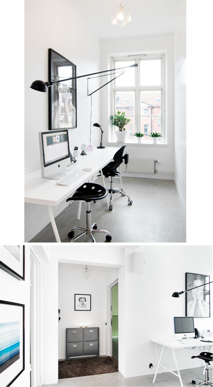 black and white workspace, flos 265 light love it | Decor. Workspace ...