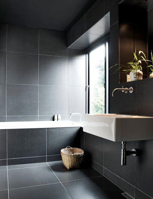 Dark Oversized Tiles Everywhere Post 50 Scandinavian Bathroom Decorating Ideas Via Decorating Ideas