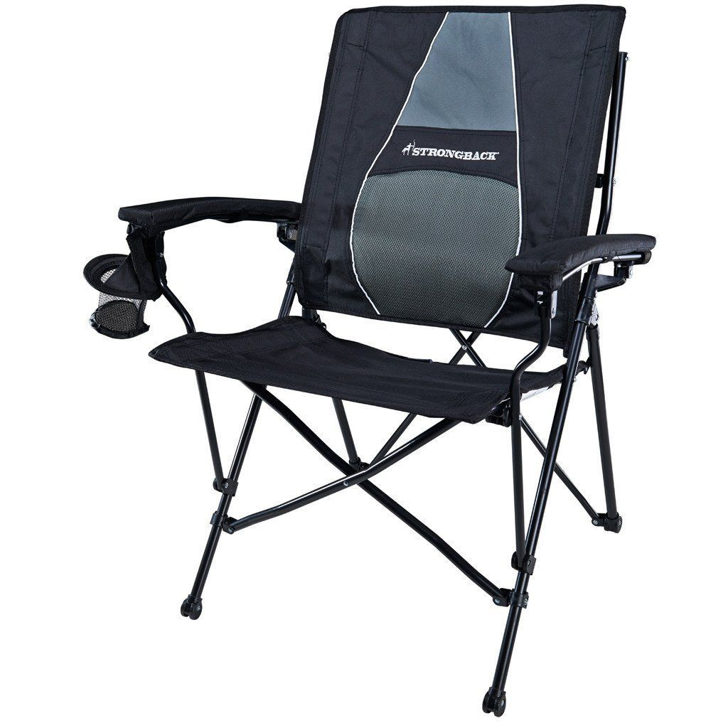Strongback Elite Black Grey Comfortable Camping Chair Heavy Duty Camping Chair Comfortable Outdoor Chairs