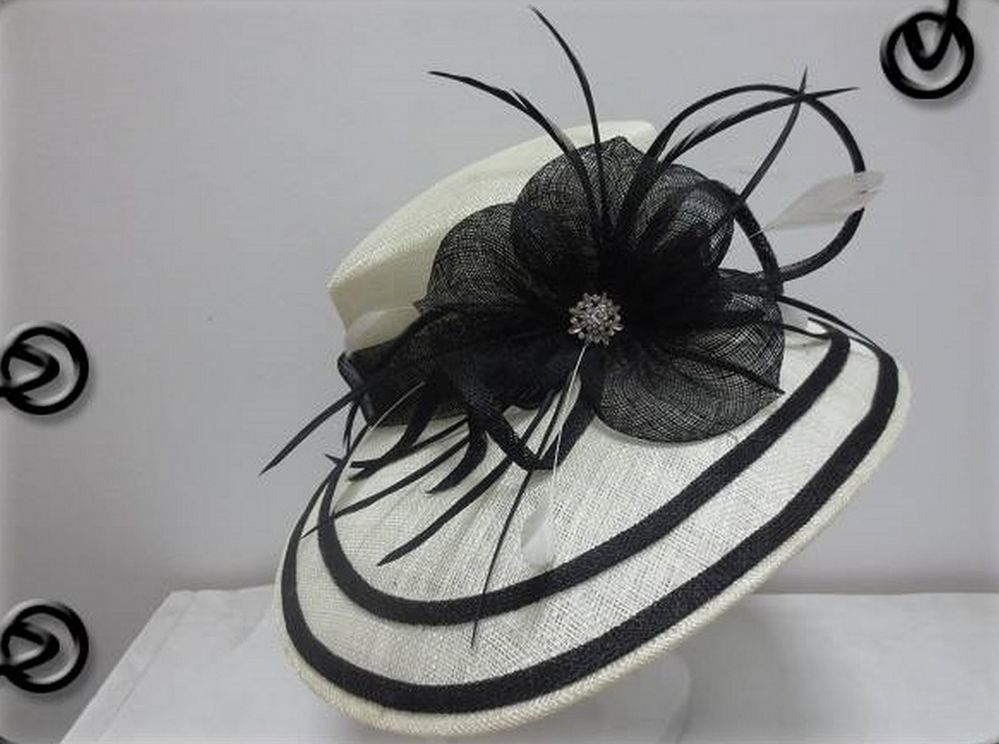 Ladies White & Black Wide Brim Hat,Races,Formals,Weddings,Dressage,Hat Making