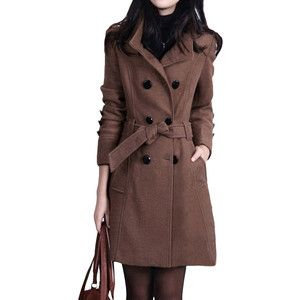 Coffee Trendy Ladies Tunic Over Coat Cashmere Pea Coat