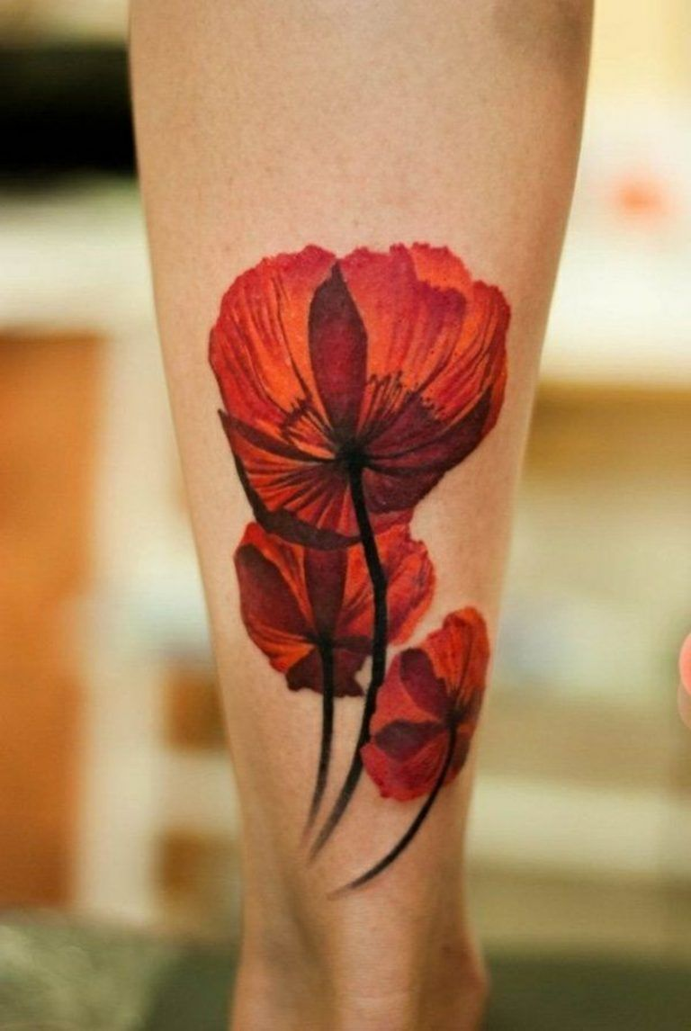 pink poppy flower tattoo