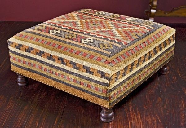 Large Wool Kilim Chesnut Multi Coffee Table Ottoman Square 38d X 16 H Rustic Ottoman Kilim Ottoman Ottoman Coffee Table