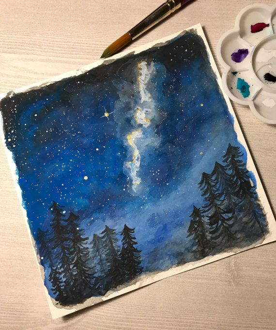 ORIGINAL Forest Galaxy Painting by desertfoxstudio on Etsy