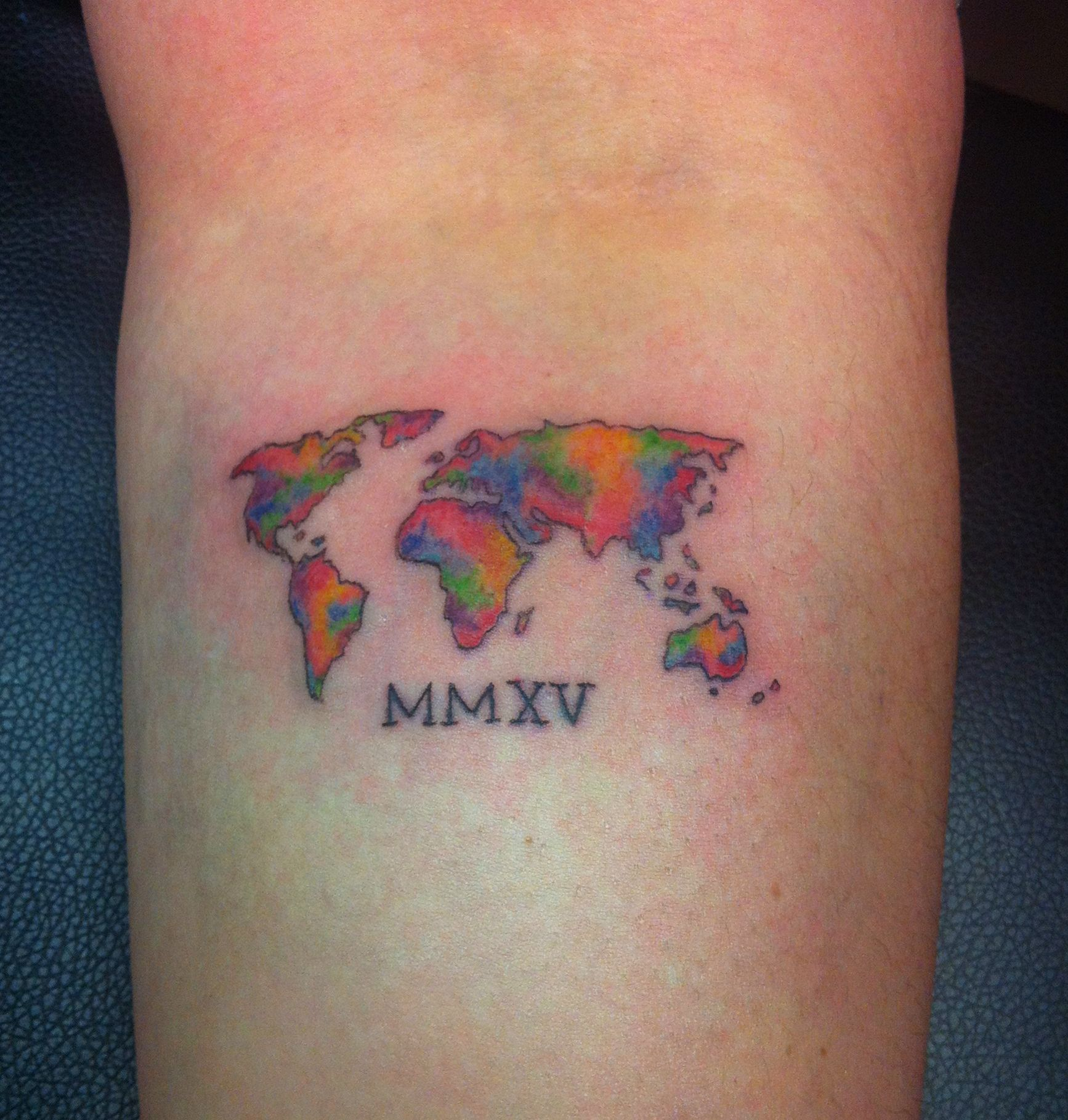 World map tattoo in watercolor style cool tattoos pinterest world map tattoo in watercolor style gumiabroncs Images