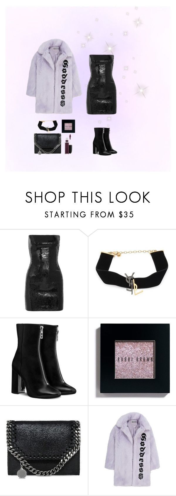 """Glitter Night Out"" by girlyprincessglam ❤ liked on Polyvore featuring Yves Saint Laurent, Bobbi Brown Cosmetics, STELLA McCARTNEY, Hyein Seo and MAC Cosmetics"