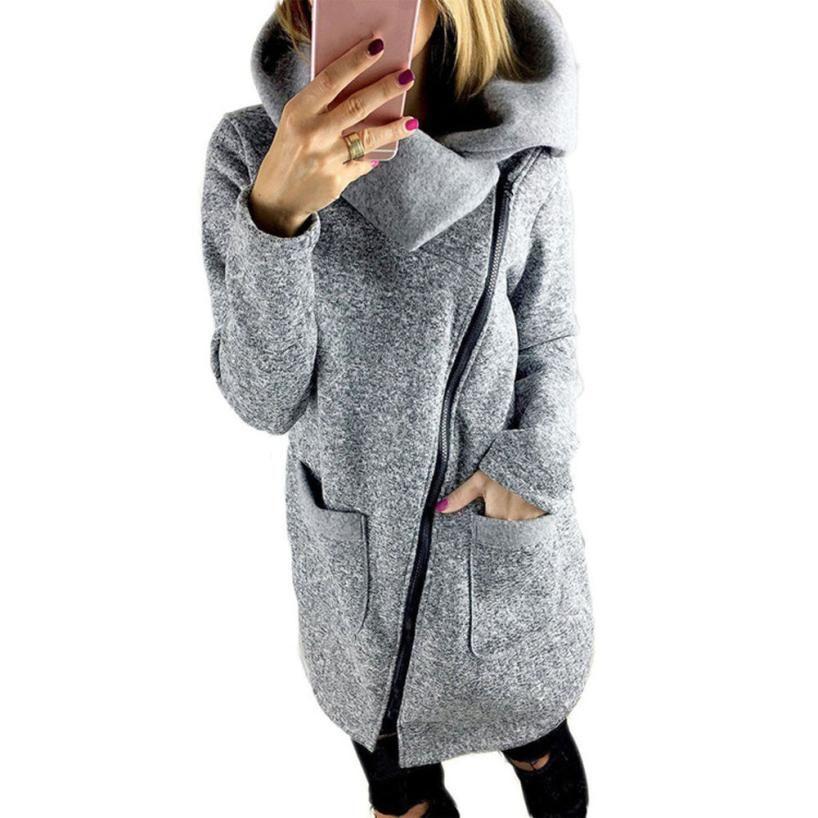 플러스 사이즈 5XL 여성 코트 따뜻한 지퍼 긴 소매 캐주얼 코트 스웨터 느슨한 가을 겨울 코트 Casacas Mujer 2016 # A11