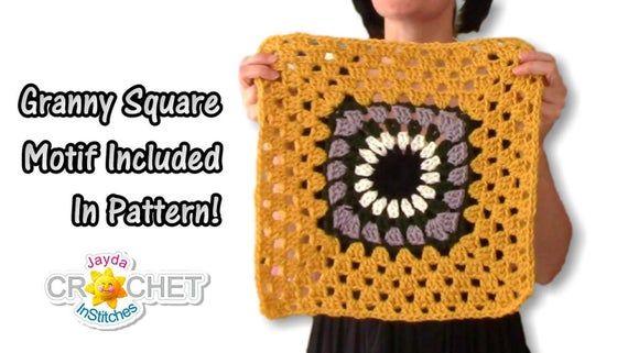 Crochet Granny Square Poncho PATTERN PDF - Vintage Boho Clothing - Jayda InStitches