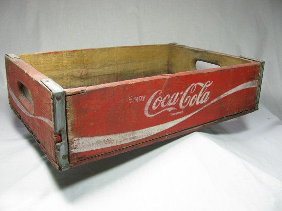 Vintage COCA  COLA WOODEN Crate    Red with by WellWudJaLookAtThat, $24.99