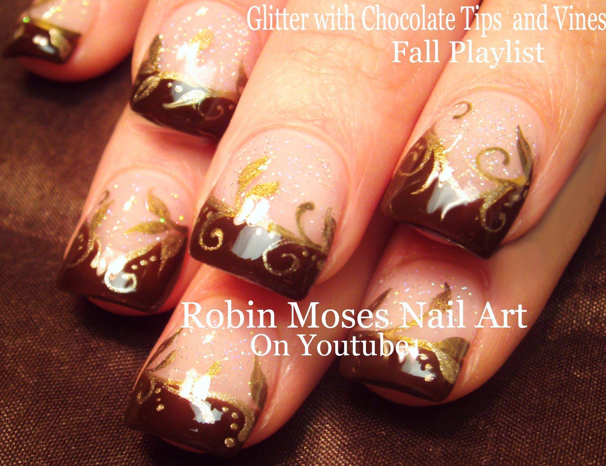Chocolate and Gold Filigree Nails | Thanksgiving - Fall Nail Art ...