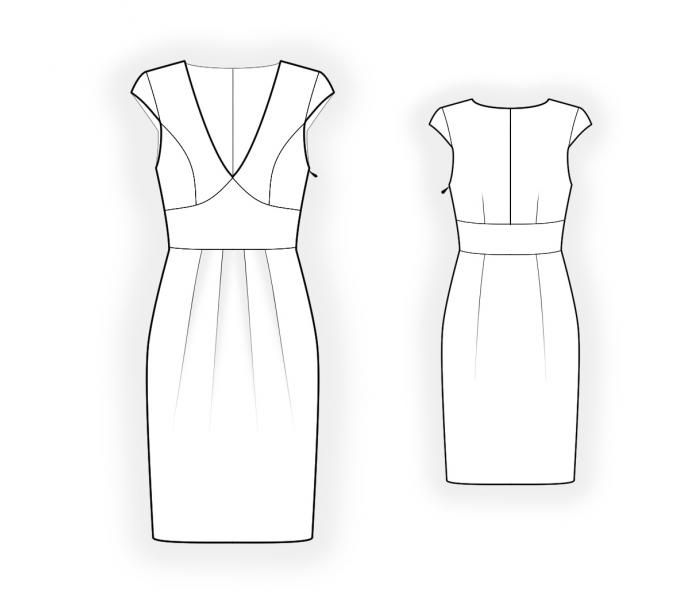Dress With Pleats - Sewing Pattern #4451 Made-to-measure sewing ...