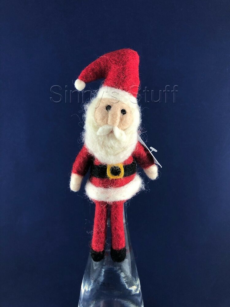 Pottery Barn Holiday Felt Santa Claus Wine Bottle Topper