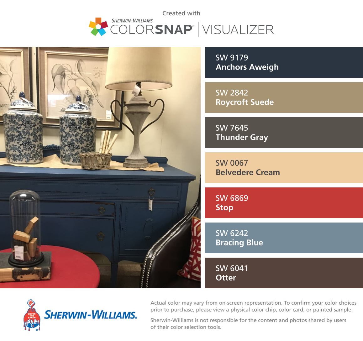 I Found These Colors With Colorsnap Visualizer For Iphone By Sherwin Williams Anchors Aweigh