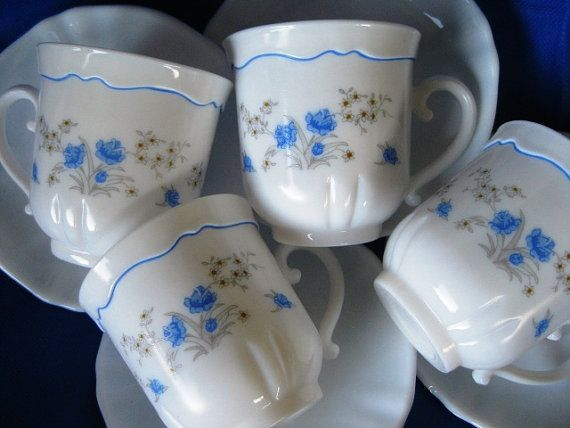 Vintage Arcopal France China Glass, Good. Set for 4 (4 cups, 4 ...