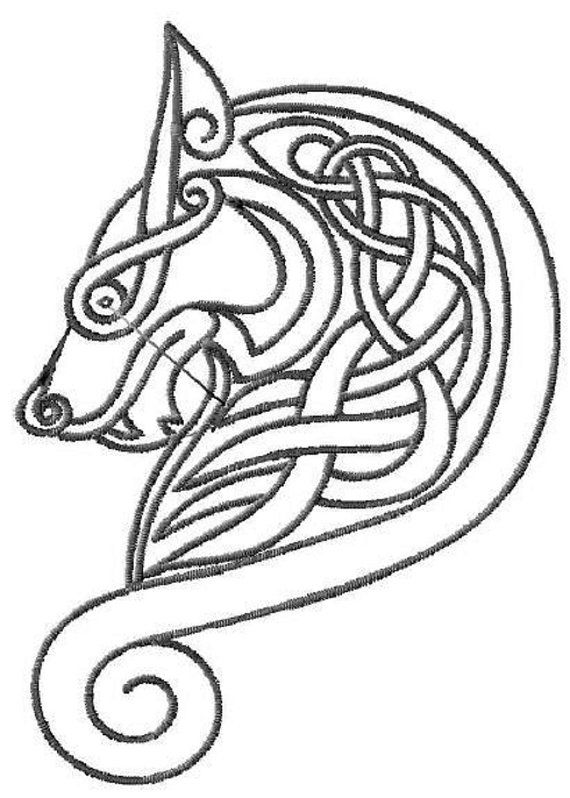 Celtic Wolf Head Motif designed by Bedlam Bazaar. Wolf