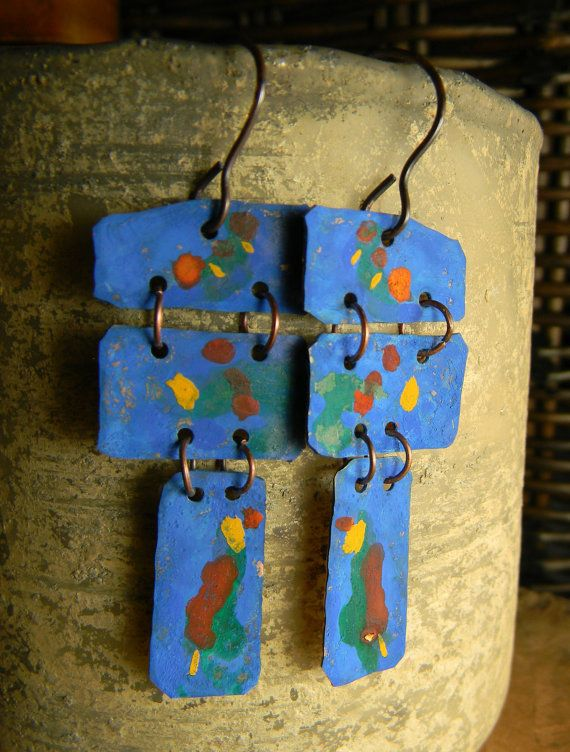 Blue Patina Copper Earrings Green Yellow Red Rustic Tribal Jewelry
