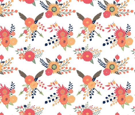 autumn Blooms in Fall orange coral peach tan Floral  fabric by graceandcruzdesigns on Spoonflower - custom fabric