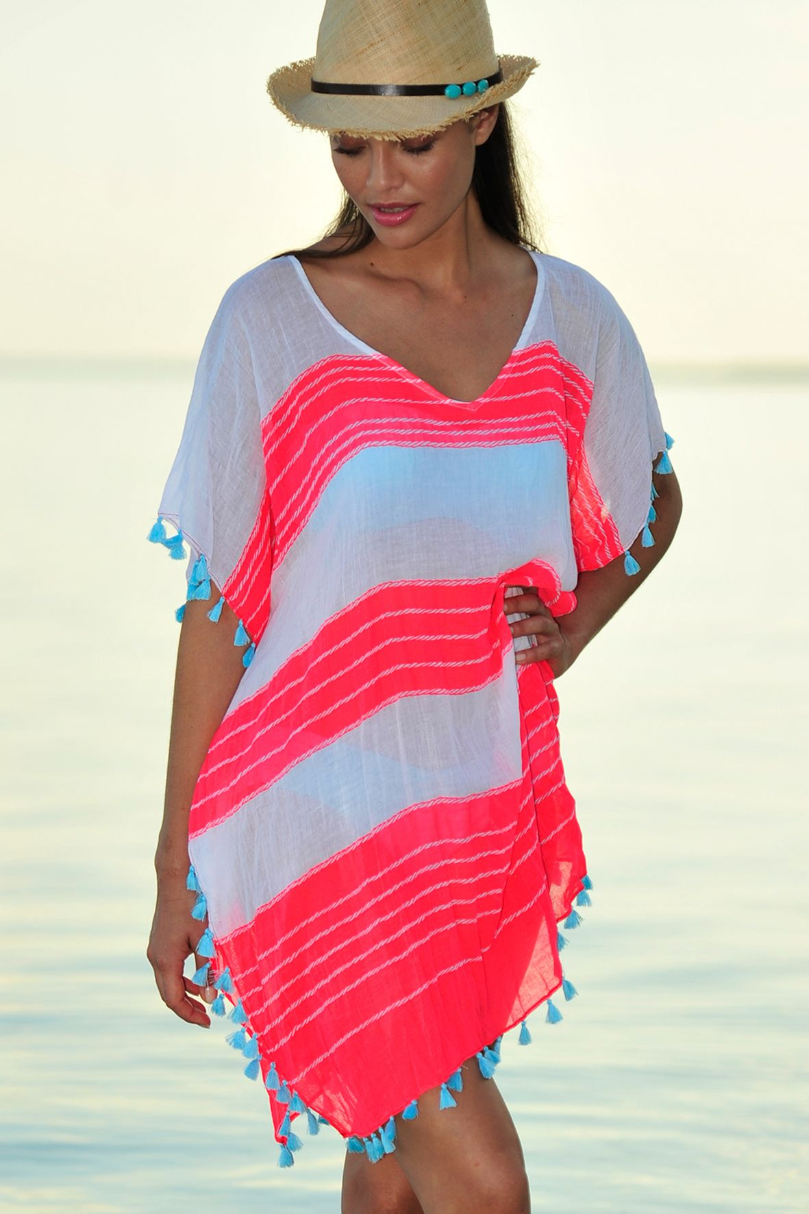 4c2646f83a3 Seafolly Coastline Cable Kaftan in Red Hot. #seafolly #kaftan #neon #redhot