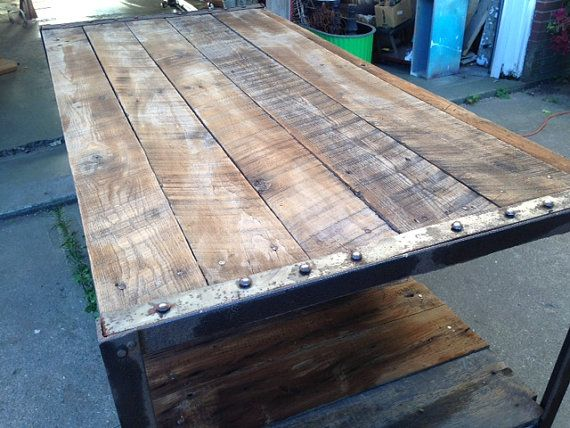 Industrial Barnwood Work Bench Table on Etsy, $400.00