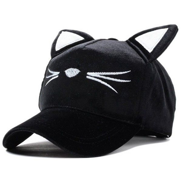 10955acc2063ef ($13) ❤ liked on Polyvore featuring accessories, hats, baseball caps, sun  hat, cat ear baseball cap, cat ears hat and cat ...