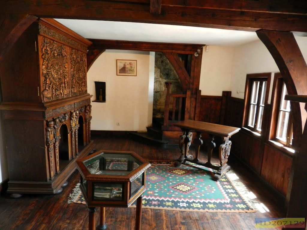 inside bran castle. since the castle was built in the middle ages