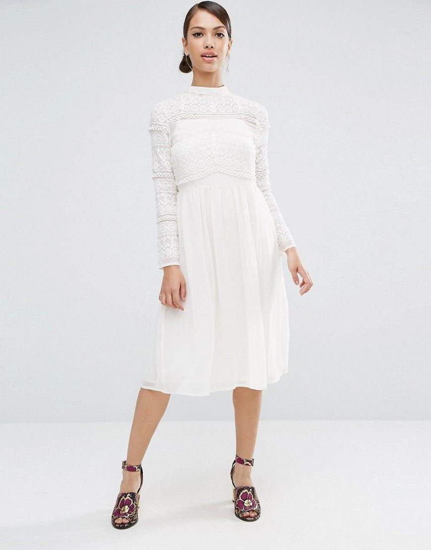 a854a080e47b0 ASOS Lace Insert Midi Dress
