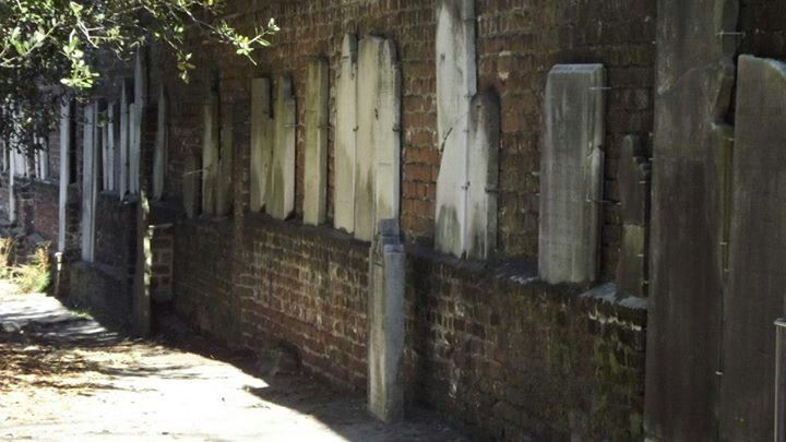 Displaced Tombstones Mounted To Wall At Colonial Park