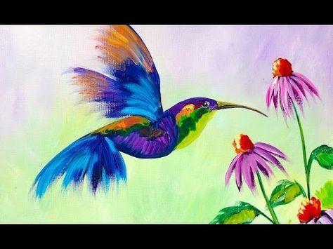 Anfanger Lernen Malen Sie Ein Kolibri Und Blumen Youtube