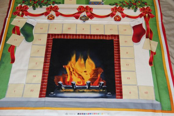 Fireplace Advent Calendar fabric  Christmas Advent by pmscrafts, $11.45