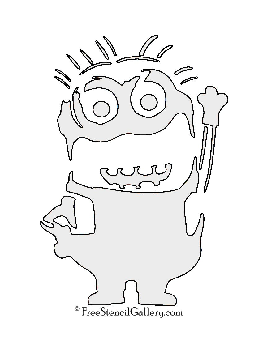 This is a graphic of Insane Minion Pumpkin Stencil Printable