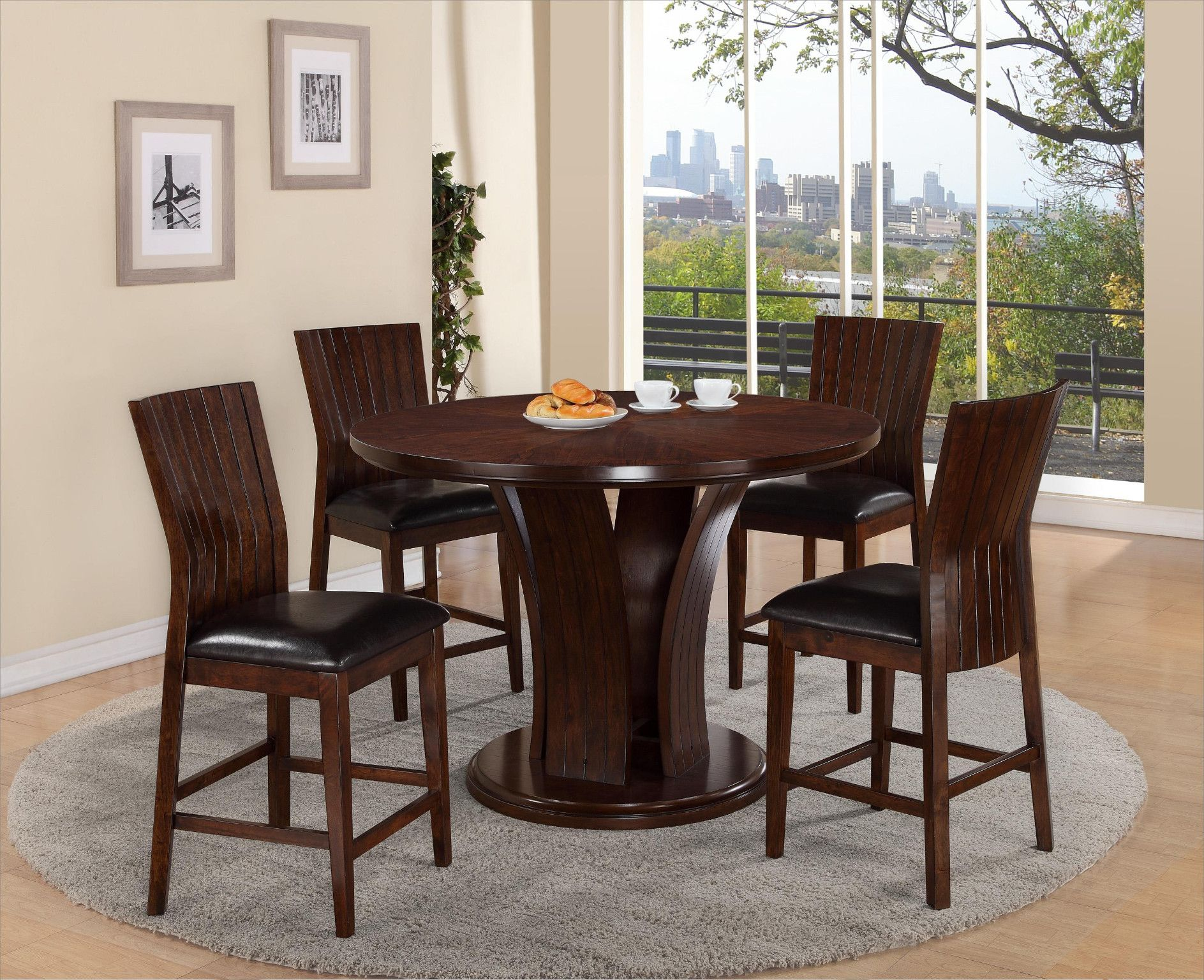 Daria Espresso Counter Height Table And 4 Chairs 79900 54 Dia X 36