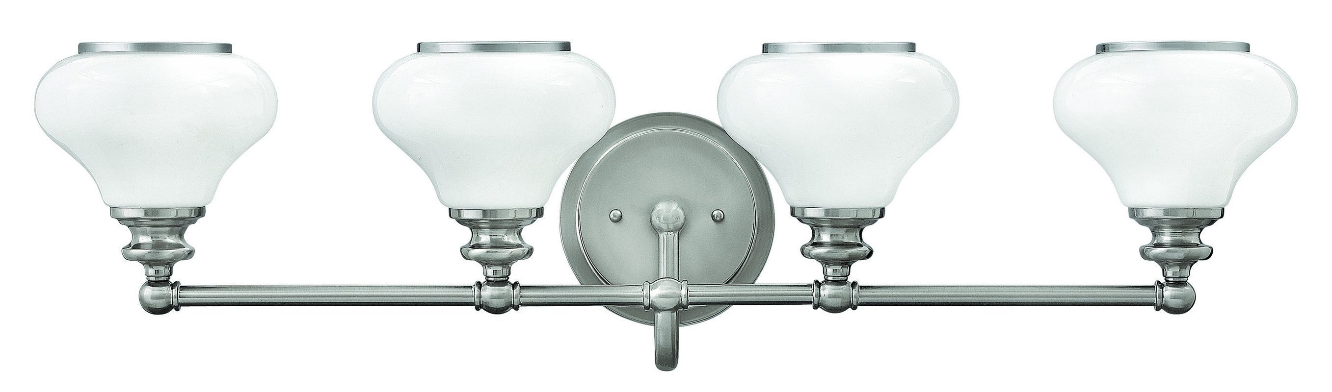 6862dc88ca8 Hinkley Lighting 56554 4 Light Bathroom Vanity Light with Frosted Glass  Shades f Brushed Nickel Indoor Lighting Bathroom Fixtures Vanity Light