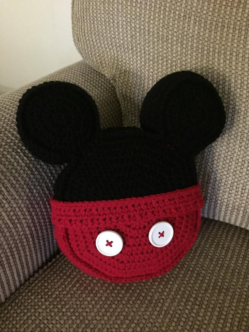 Made to order Crochet pillow Mouse Ear inspired icon mouse ears toss pillow throw pillow
