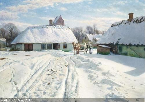 MØNSTED Peder Mørk - Vinterdag i landsbyen